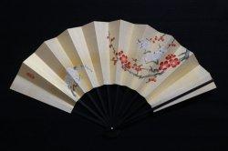 画像1: 手描き 紅白梅図 (黒塗扇子立・烏帽子箱入)
