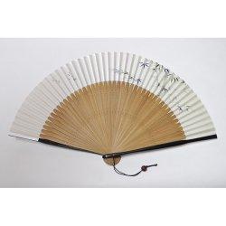 画像1: <琳風扇> 手描き 竹笹にとんぼ図